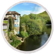 Aveyron River In Saint-antonin-noble-val Round Beach Towel