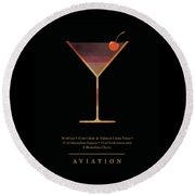 Aviation Cocktail - Classic Cocktails Series - Black And Gold - Modern, Minimal Decor Round Beach Towel
