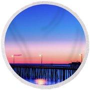 Avila Beach Pier At Sunset Round Beach Towel