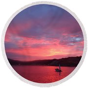 Avila Beach Sunset Round Beach Towel