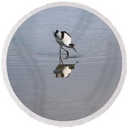 Avocet And Reflection Round Beach Towel