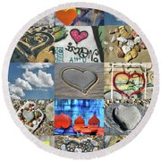 Awesome Hearts - Collage Round Beach Towel