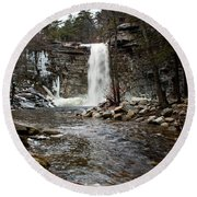 Awosting Falls In January #2 Round Beach Towel