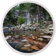 Awosting Falls In July Iv Round Beach Towel
