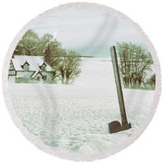 Axe In Snow Scene Round Beach Towel