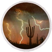 Az Saguaro Lightning Storm Round Beach Towel