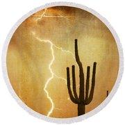 Az Saguaro Lightning Storm V Round Beach Towel