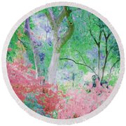 Azalea Flowers And Tree Coral  Round Beach Towel