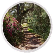 Azalea Path  Round Beach Towel