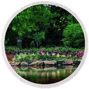 Azalea Pond Round Beach Towel