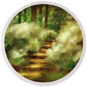 Azalea Stairs Round Beach Towel
