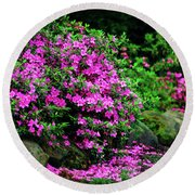 Azalea Waterfall At The Azalea Festival Round Beach Towel