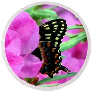 Azalea With Butterfly Round Beach Towel