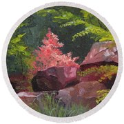 Azaleas - Sun And Shadow Round Beach Towel