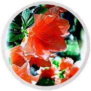 Azaleas In The Spring Round Beach Towel