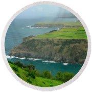 Azores Coastal Landscape Round Beach Towel