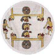Aztec Ball Game Round Beach Towel