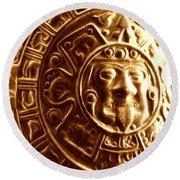 Aztec Gold Photograph Round Beach Towel
