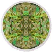 Aztec Kaleidoscope - Pattern 009 - Dark Olive Round Beach Towel
