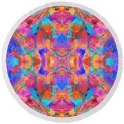 Aztec Kaleidoscope - Pattern 015 Round Beach Towel