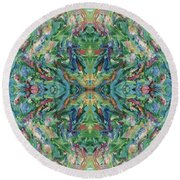 Aztec Kaleidoscope - Pattern 018 - Earth Round Beach Towel