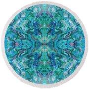 Aztec Kaleidoscope - Pattern 018 - Ocean Round Beach Towel