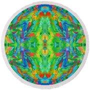 Aztec Kaleidoscope - Pattern 025 Round Beach Towel
