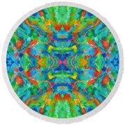 Aztec Kaleidoscope - Pattern 026 Round Beach Towel