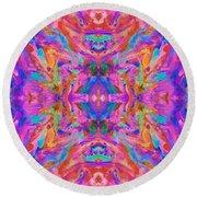 Aztec Kaleidoscope - Pattern 032 Round Beach Towel