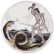 Aztec Killing A Serpent Round Beach Towel