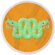 Aztec Serpent Round Beach Towel