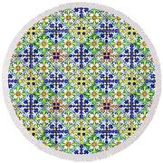 Azulejos Magic Pattern - 11 Round Beach Towel