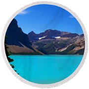 Azure Blue Mountain Lake Round Beach Towel