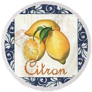 Azure Lemon 2 Round Beach Towel