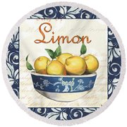 Azure Lemon 3 Round Beach Towel