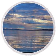 Azure, Pink And Reflections 2 Round Beach Towel