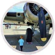 B-17 Engine Aircraft Wwii Round Beach Towel