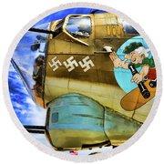 B-17 Paint  Round Beach Towel