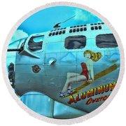 B-17 Aluminum Overcast Pin-up Round Beach Towel