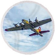 B-17g Flying Fortress In Flight  Round Beach Towel