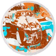 B-25 Blue Brown Round Beach Towel