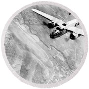 B-25 Bomber Over Germany Round Beach Towel