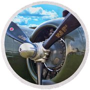 B-25 Engine Round Beach Towel