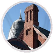 B And O Railroad Station In Oakland Maryland Round Beach Towel