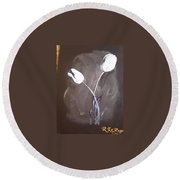 B And W Tulips Round Beach Towel