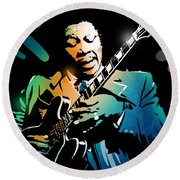 B B King Round Beach Towel