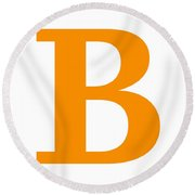 B In Tangerine Typewriter Style Round Beach Towel