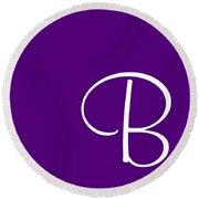 B In White Simple Script Round Beach Towel