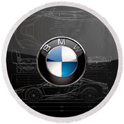 B M W  3 D  Badge Over B M W I8 Silver Blueprint On Black Special Edition Round Beach Towel