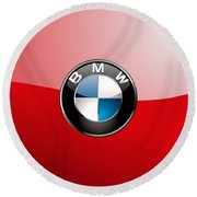 B M W Badge On Red  Round Beach Towel by Serge Averbukh